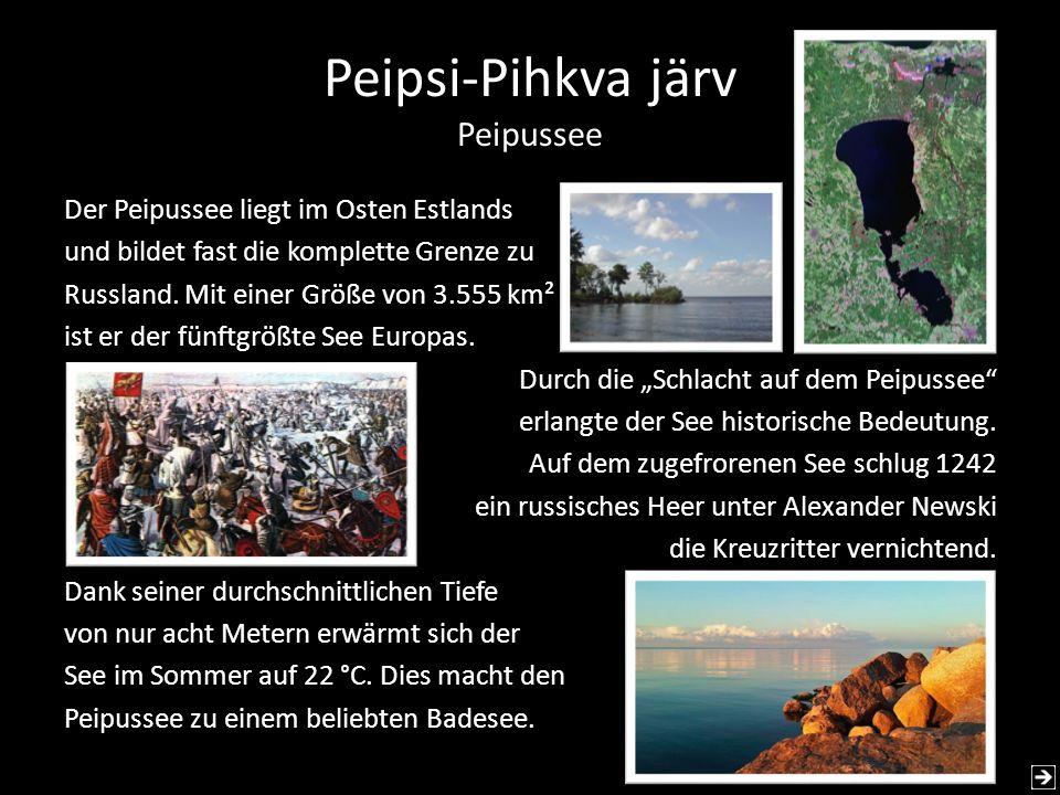 Peipsi-Pihkva järv Peipussee Der Peipussee liegt im Osten Estlands und bildet fast die komplette Grenze zu Russland. Mit einer Größe von 3.555 km² ist