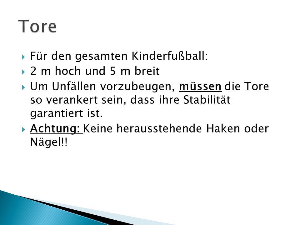 Für den gesamten Kinderfußball: 2 m hoch und 5 m breit Um Unfällen vorzubeugen, müssen die Tore so verankert sein, dass ihre Stabilität garantiert ist