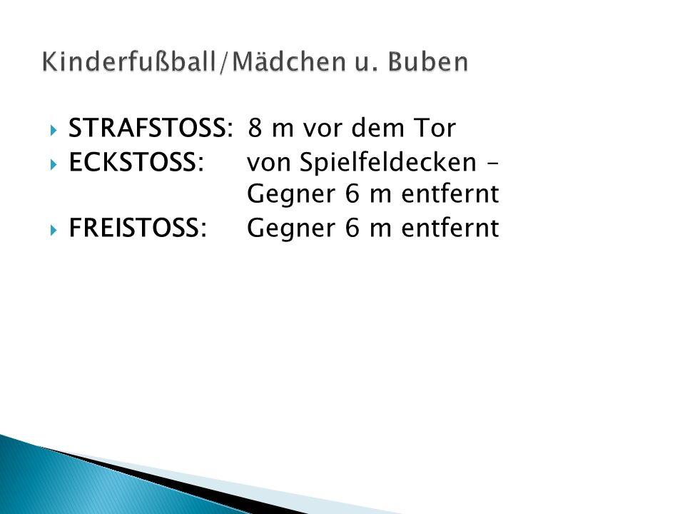 STRAFSTOSS:8 m vor dem Tor ECKSTOSS:von Spielfeldecken – Gegner 6 m entfernt FREISTOSS:Gegner 6 m entfernt