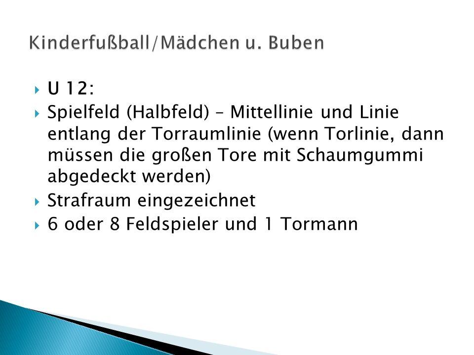 U 12: Spielfeld (Halbfeld) – Mittellinie und Linie entlang der Torraumlinie (wenn Torlinie, dann müssen die großen Tore mit Schaumgummi abgedeckt werd