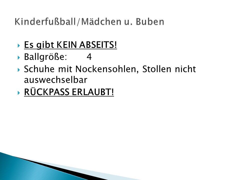 Torhüter (Abspiel/Ausschuss/Auswurf): Wenn der Ball mit den Händen berührt oder aufgenommen wird, muss der Ball in der eigenen Spielhälfte Spieler oder Boden berühren, ansonsten INDIREKTER FREISTOSS am ANSTOSSPUNKT.