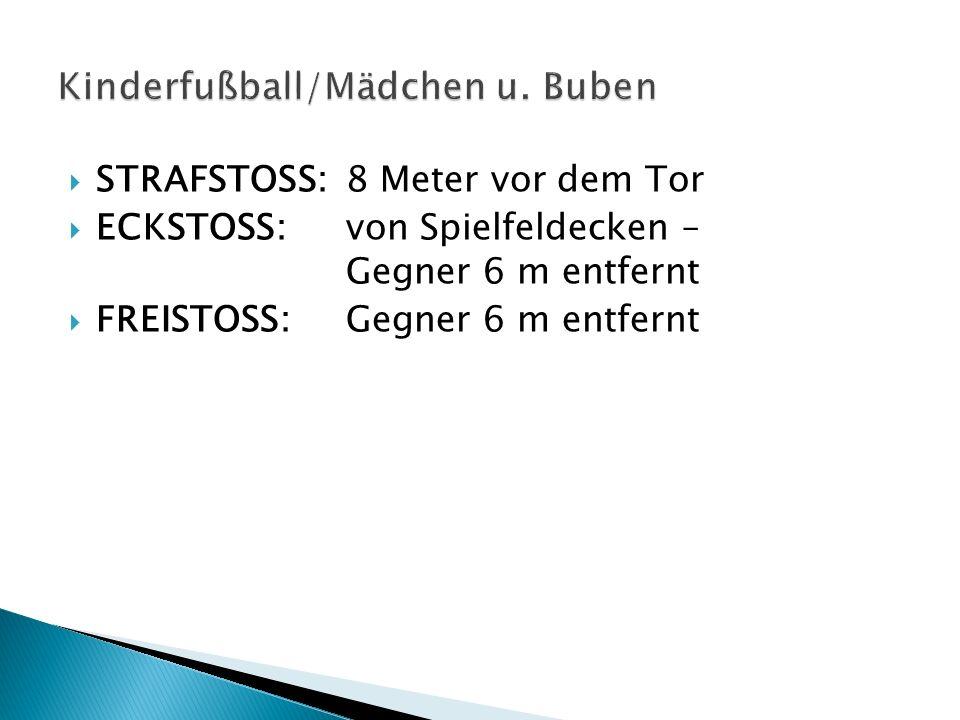 STRAFSTOSS:8 Meter vor dem Tor ECKSTOSS:von Spielfeldecken – Gegner 6 m entfernt FREISTOSS:Gegner 6 m entfernt