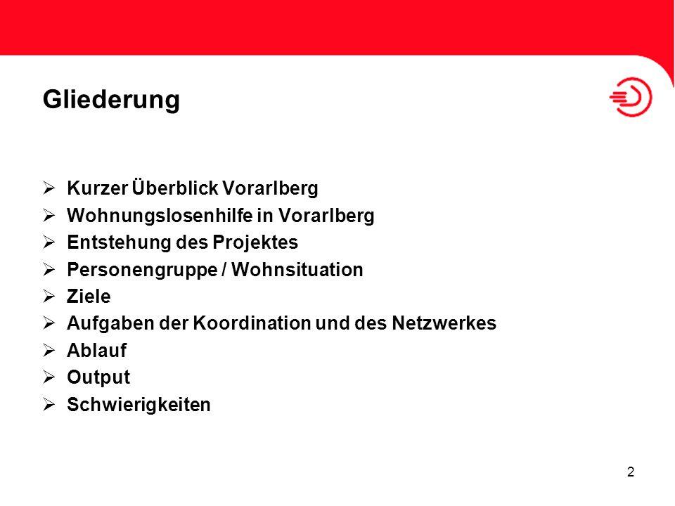 2 Gliederung Kurzer Überblick Vorarlberg Wohnungslosenhilfe in Vorarlberg Entstehung des Projektes Personengruppe / Wohnsituation Ziele Aufgaben der K