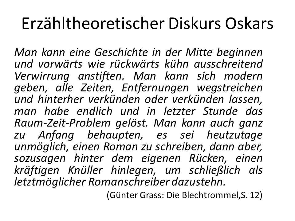 Erzähltheoretischer Diskurs Oskars Man kann eine Geschichte in der Mitte beginnen und vorwärts wie rückwärts kühn ausschreitend Verwirrung anstiften.