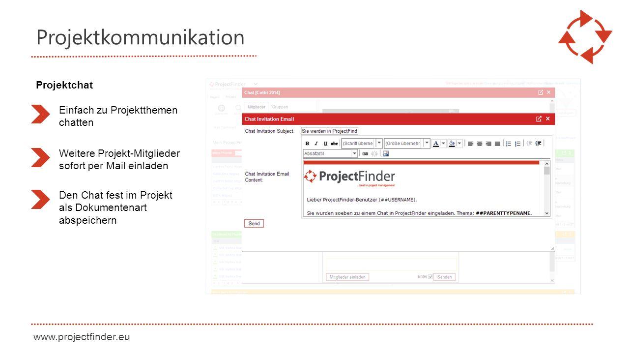 www.projectfinder.eu Projektkommunikation Einfach zu Projektthemen chatten Weitere Projekt-Mitglieder sofort per Mail einladen Projektchat Den Chat fest im Projekt als Dokumentenart abspeichern