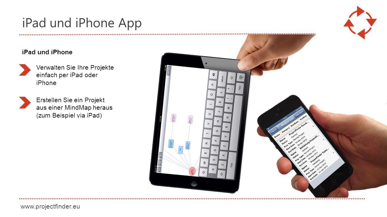www.projectfinder.eu iPad und iPhone App Verwalten Sie Ihre Projekte einfach per iPad oder iPhone Erstellen Sie ein Projekt aus einer MindMap heraus (zum Beispiel via iPad) iPad und iPhone