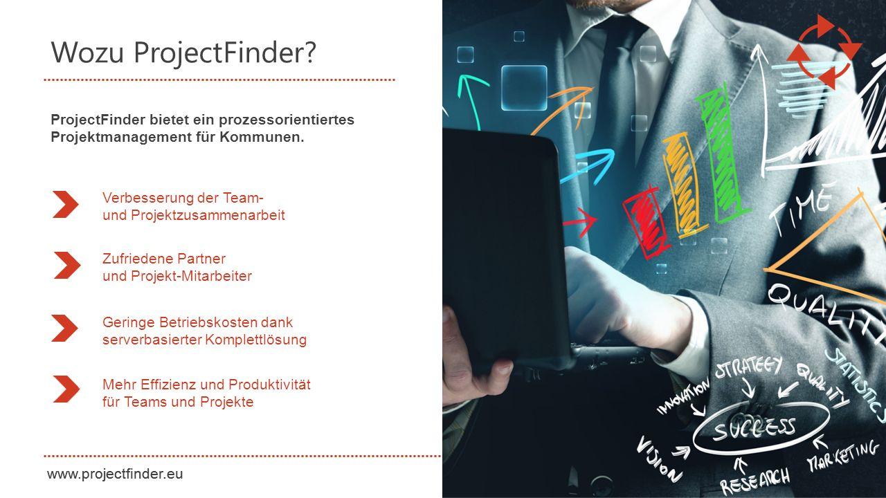 www.projectfinder.eu Wozu ProjectFinder? Verbesserung der Team- und Projektzusammenarbeit Zufriedene Partner und Projekt-Mitarbeiter Geringe Betriebsk