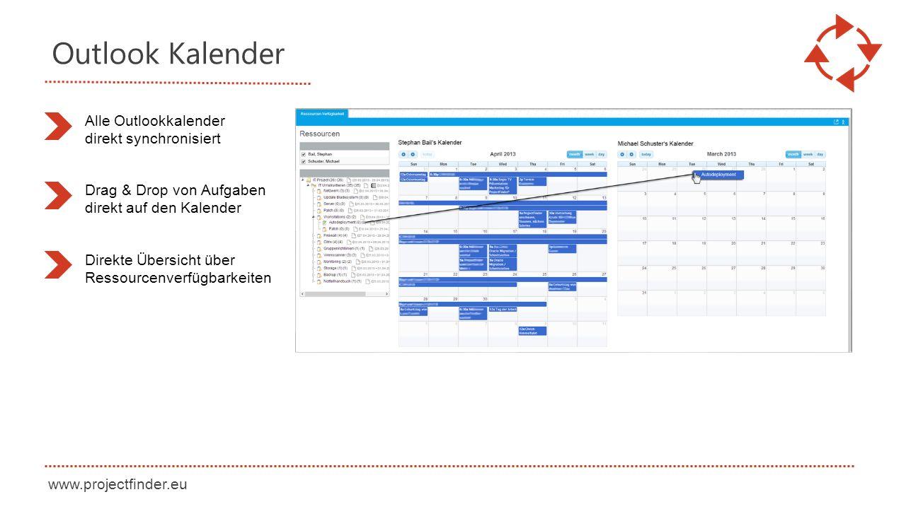 www.projectfinder.eu Outlook Kalender Alle Outlookkalender direkt synchronisiert Drag & Drop von Aufgaben direkt auf den Kalender Direkte Übersicht über Ressourcenverfügbarkeiten