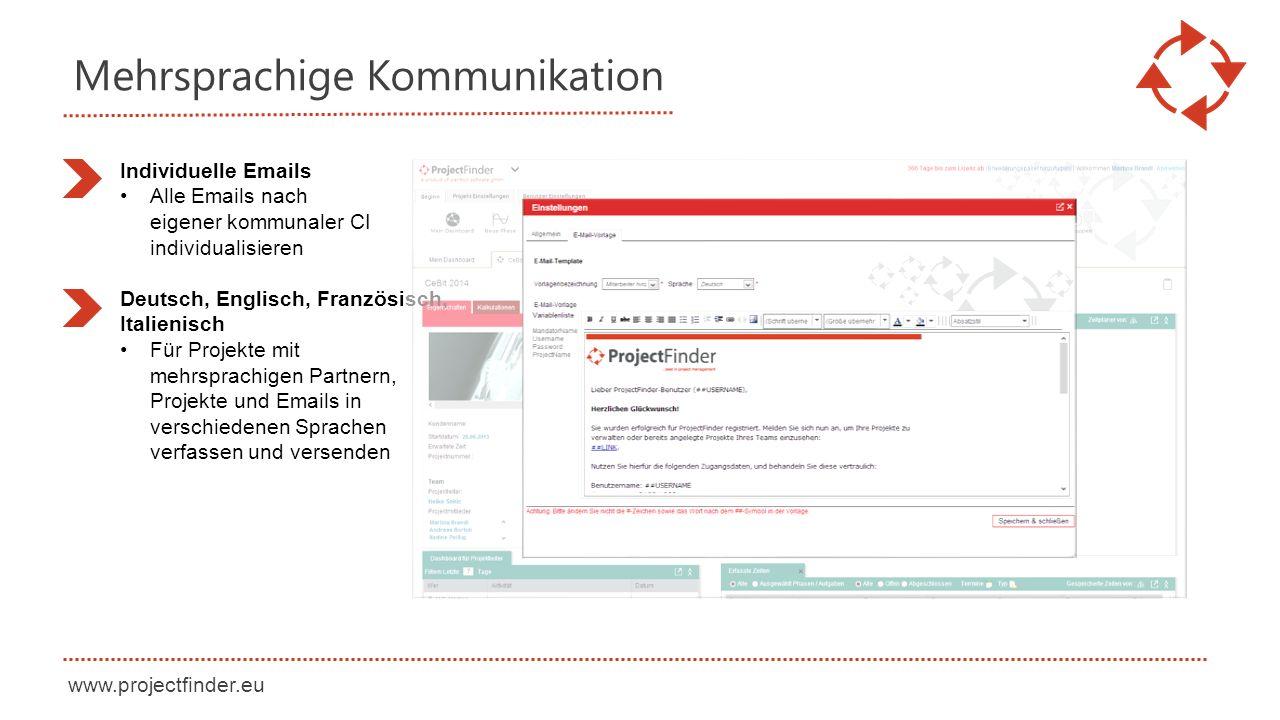 www.projectfinder.eu Mehrsprachige Kommunikation Individuelle Emails Alle Emails nach eigener kommunaler CI individualisieren Deutsch, Englisch, Franz