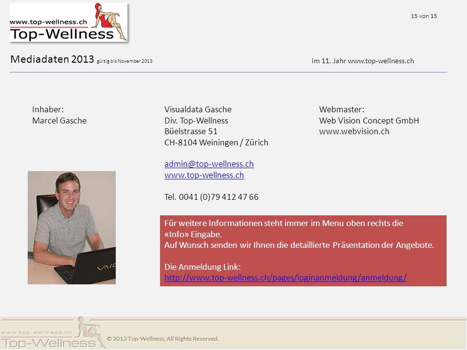 Mediadaten 2013 gültig bis November 2013 Visualdata Gasche Div.