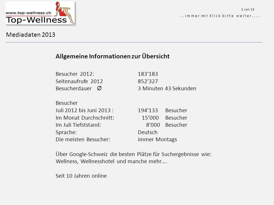 Mediadaten 2013 Allgemeine Informationen zur Übersicht...