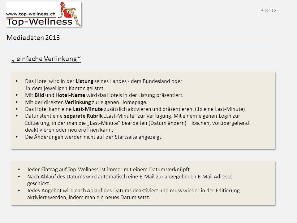 Mediadaten 2013 einfache Verlinkung Das Hotel wird in der Listung seines Landes - dem Bundesland oder in dem jeweiligen Kanton gelistet.