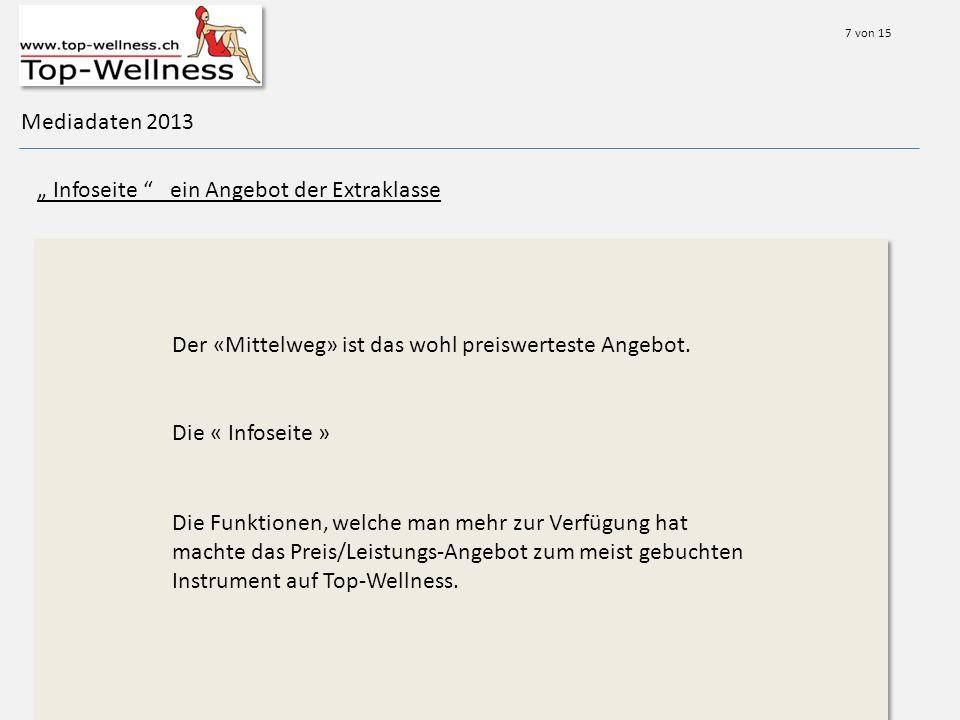 Mediadaten 2013 Infoseite ein Angebot der Extraklasse Der «Mittelweg» ist das wohl preiswerteste Angebot.