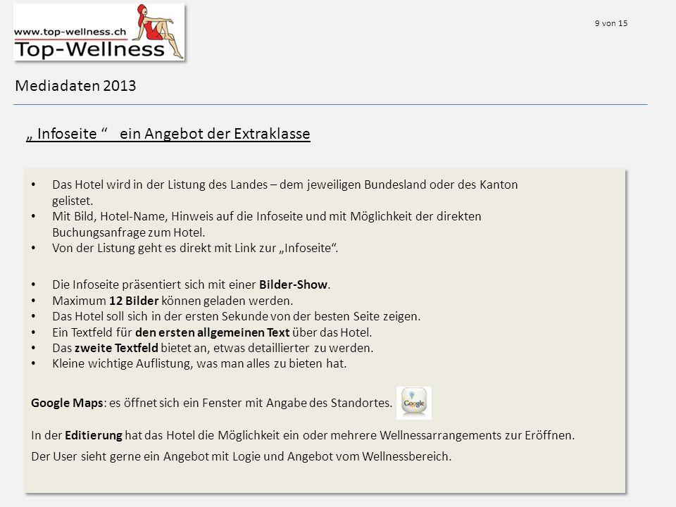 Mediadaten 2013 Infoseite ein Angebot der Extraklasse Das Hotel wird in der Listung des Landes – dem jeweiligen Bundesland oder des Kanton gelistet.