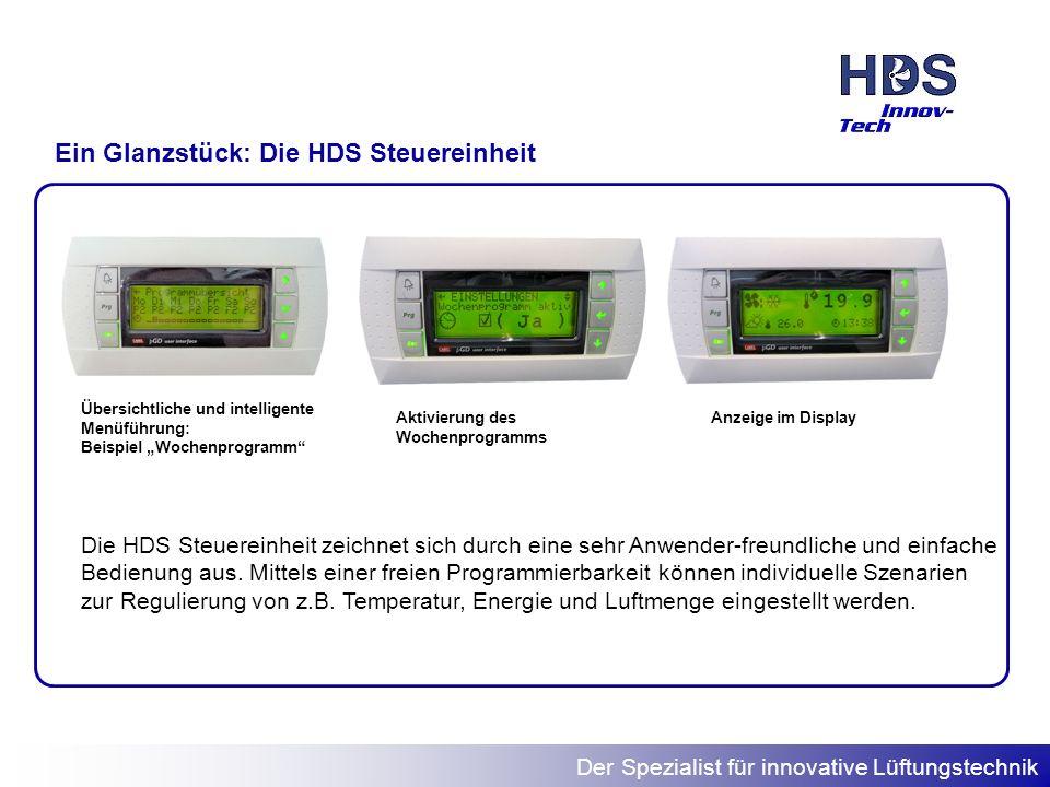 Der Spezialist für innovative Lüftungstechnik Ein Glanzstück: Die HDS Steuereinheit Übersichtliche und intelligente Menüführung: Beispiel Wochenprogra