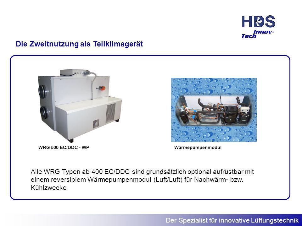Der Spezialist für innovative Lüftungstechnik Die Zweitnutzung als Teilklimagerät WRG 500 EC/DDC - WPWärmepumpenmodul Alle WRG Typen ab 400 EC/DDC sin