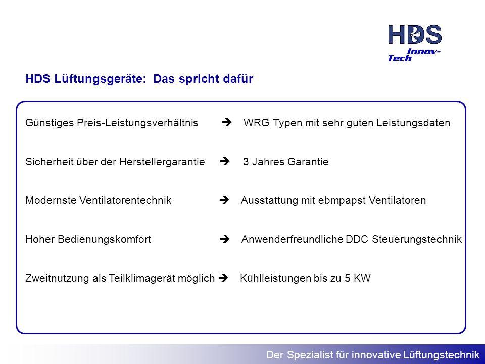 Der Spezialist für innovative Lüftungstechnik Günstiges Preis-Leistungsverhältnis WRG Typen mit sehr guten Leistungsdaten Sicherheit über der Herstell