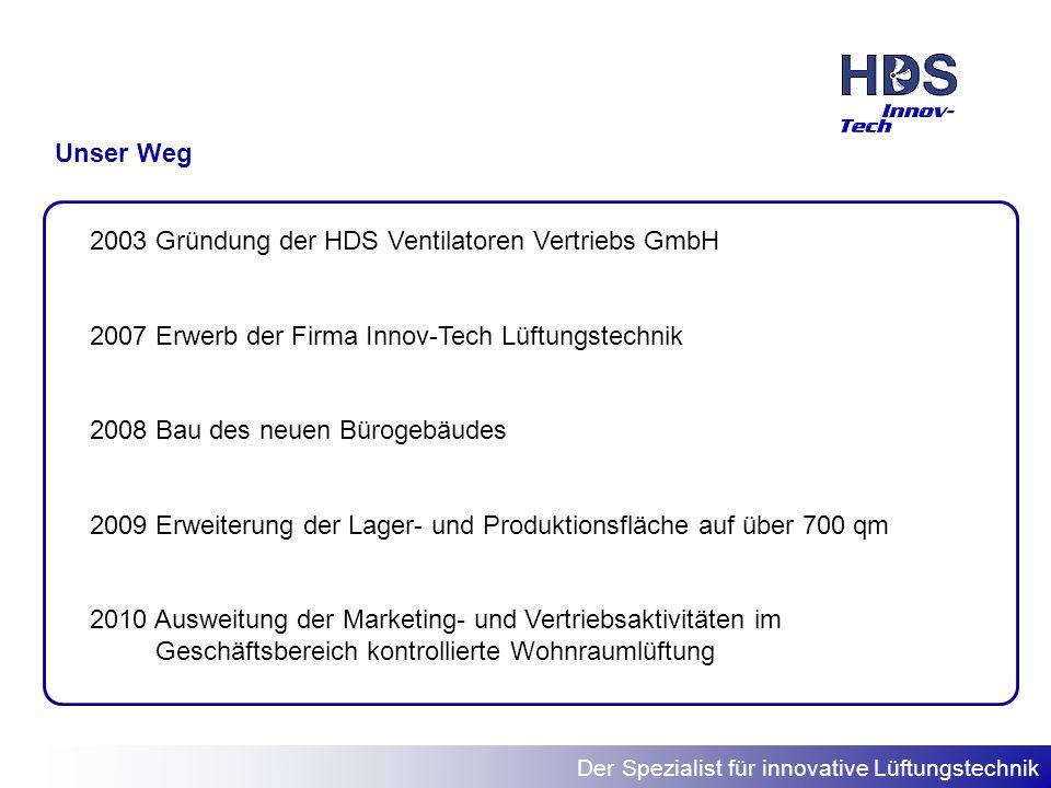 Der Spezialist für innovative Lüftungstechnik Unser Weg 2003 Gründung der HDS Ventilatoren Vertriebs GmbH 2007 Erwerb der Firma Innov-Tech Lüftungstec