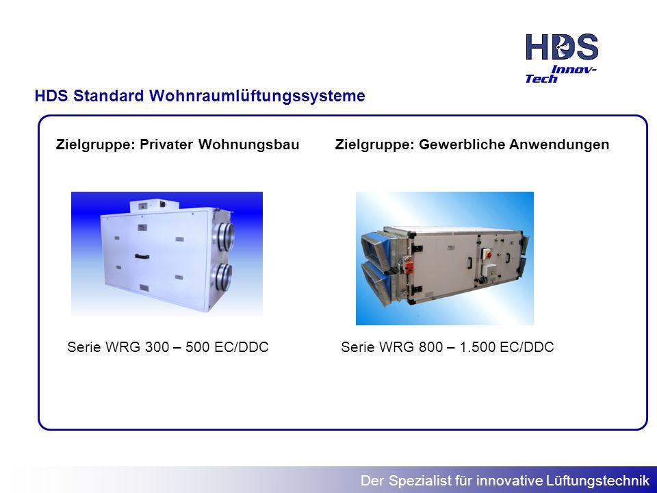 Der Spezialist für innovative Lüftungstechnik HDS Standard Wohnraumlüftungssysteme Serie WRG 300 – 500 EC/DDC Zielgruppe: Privater WohnungsbauZielgrup