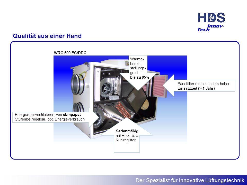Der Spezialist für innovative Lüftungstechnik Die WRG Leistungsdaten TypenbezeichnungBelüftung von Wohnflächen WRG 300 EC/DDCbis 150 m 2 WRG 400 EC/DDCbis 200 m 2 WRG 500 EC/DDCbis 250 m 2 WRG 800 EC/DDCbis 350 m 2 WRG 1.500 EC/DDCbis 600 m 2 Die WRG Serie von HDS zeichnet sich durch eine außergewöhnliche Leistungsfähigkeit aus.