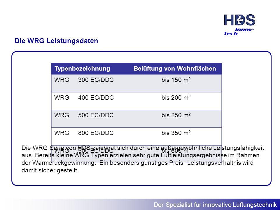 Der Spezialist für innovative Lüftungstechnik Die WRG Leistungsdaten TypenbezeichnungBelüftung von Wohnflächen WRG 300 EC/DDCbis 150 m 2 WRG 400 EC/DD