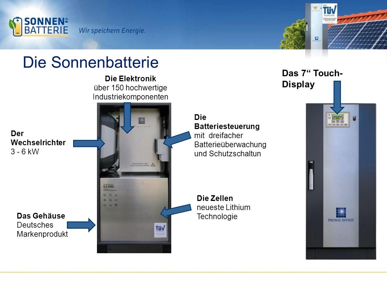 Die Sonnenbatterie Das 7 Touch- Display Die Elektronik über 150 hochwertige Industriekomponenten Die Batteriesteuerung mit dreifacher Batterieüberwachung und Schutzschaltun Die Zellen neueste Lithium Technologie Der Wechselrichter 3 - 6 kW Das Gehäuse Deutsches Markenprodukt