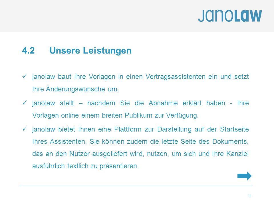 11 4.2 Unsere Leistungen janolaw baut Ihre Vorlagen in einen Vertragsassistenten ein und setzt Ihre Änderungswünsche um. janolaw stellt – nachdem Sie