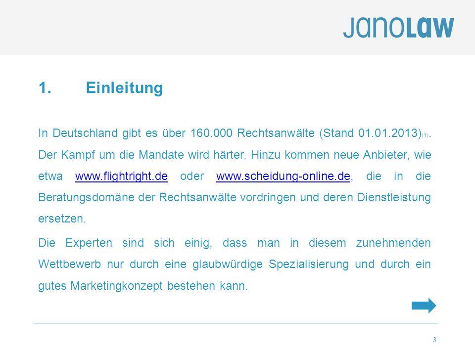 3 1. Einleitung In Deutschland gibt es über 160.000 Rechtsanwälte (Stand 01.01.2013) (1). Der Kampf um die Mandate wird härter. Hinzu kommen neue Anbi