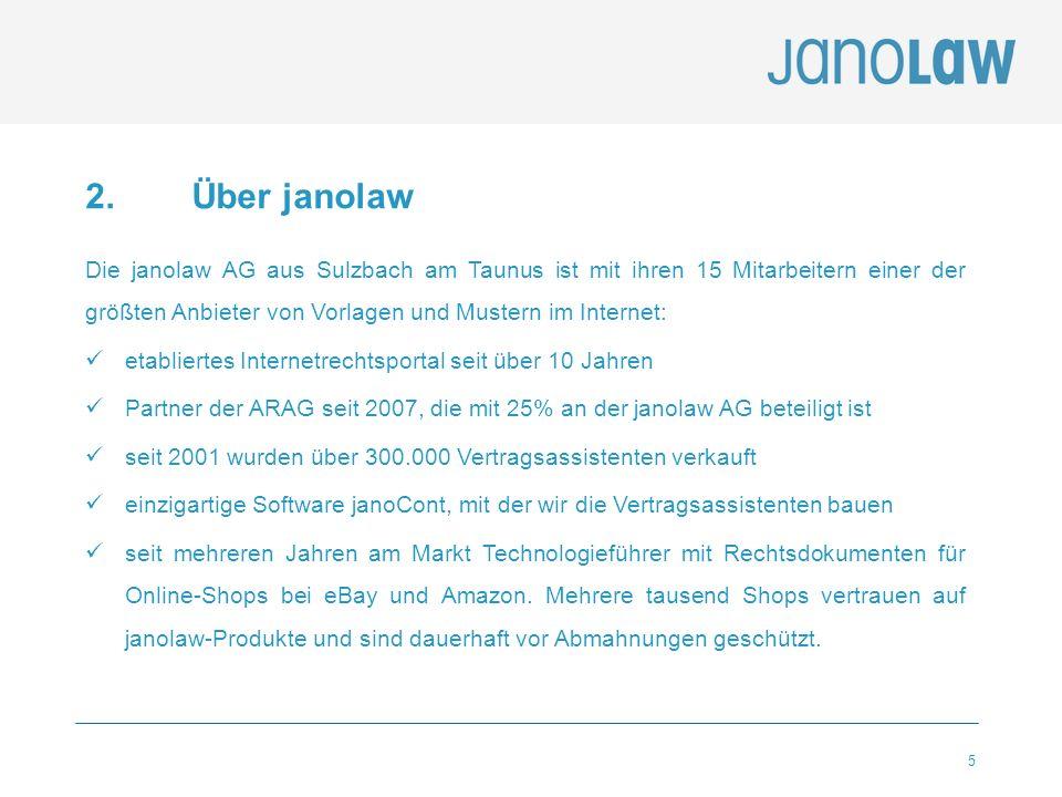 5 2. Über janolaw Die janolaw AG aus Sulzbach am Taunus ist mit ihren 15 Mitarbeitern einer der größten Anbieter von Vorlagen und Mustern im Internet: