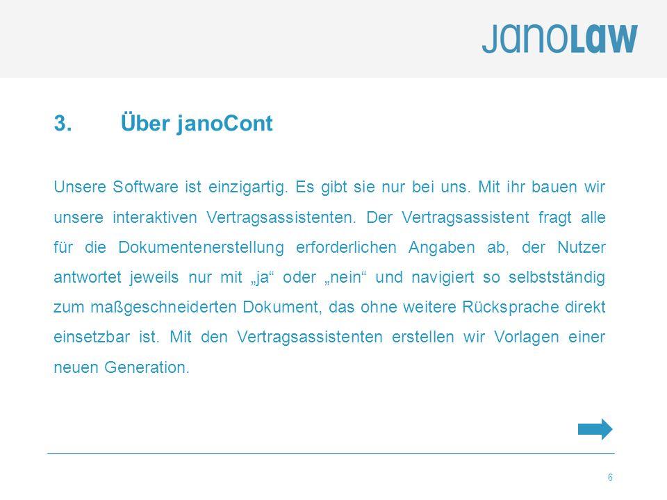 6 3. Über janoCont Unsere Software ist einzigartig. Es gibt sie nur bei uns. Mit ihr bauen wir unsere interaktiven Vertragsassistenten. Der Vertragsas