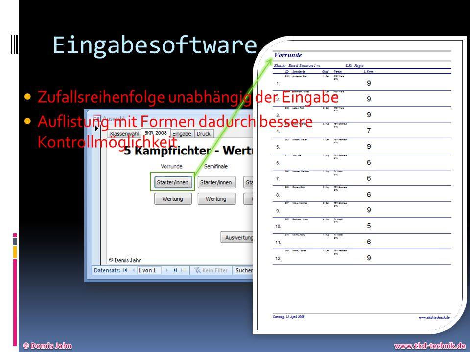 Eingabesoftware Zufallsreihenfolge unabhängig der Eingabe Auflistung mit Formen dadurch bessere Kontrollmöglichkeit