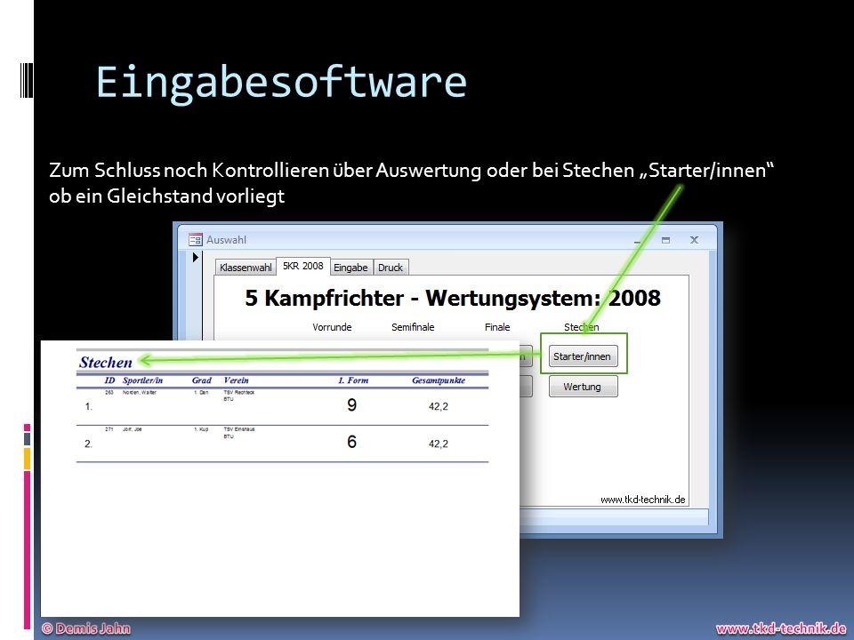Eingabesoftware Zum Schluss noch Kontrollieren über Auswertung oder bei Stechen Starter/innen ob ein Gleichstand vorliegt