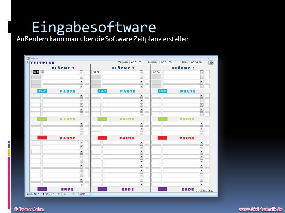 Eingabesoftware Außerdem kann man über die Software Zeitpläne erstellen