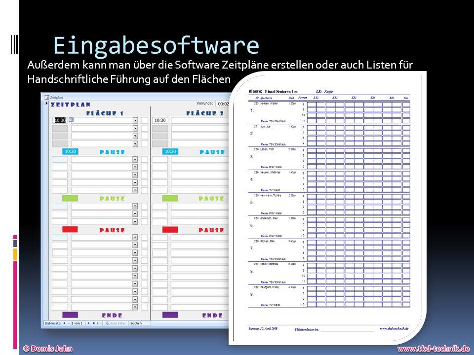 Eingabesoftware Außerdem kann man über die Software Zeitpläne erstellen oder auch Listen für Handschriftliche Führung auf den Flächen