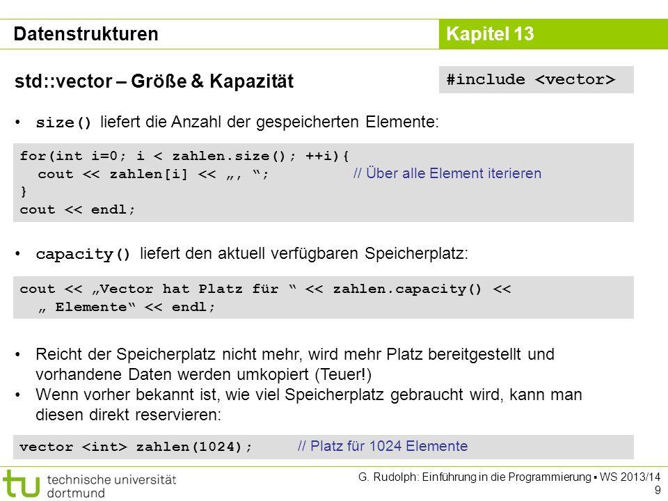 Kapitel 13 Datenstrukturen std::map G. Rudolph: Einführung in die Programmierung WS 2013/14 20