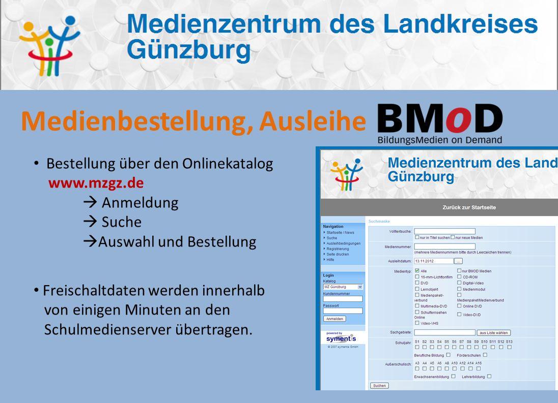 Bestellung über den Onlinekatalog www.mzgz.de Anmeldung Suche Auswahl und Bestellung Medienbestellung, Ausleihe Freischaltdaten werden innerhalb von e