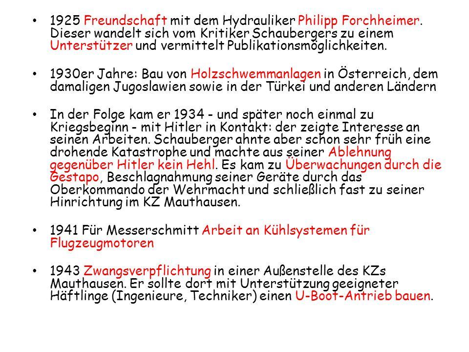 1925 Freundschaft mit dem Hydrauliker Philipp Forchheimer. Dieser wandelt sich vom Kritiker Schaubergers zu einem Unterstützer und vermittelt Publikat