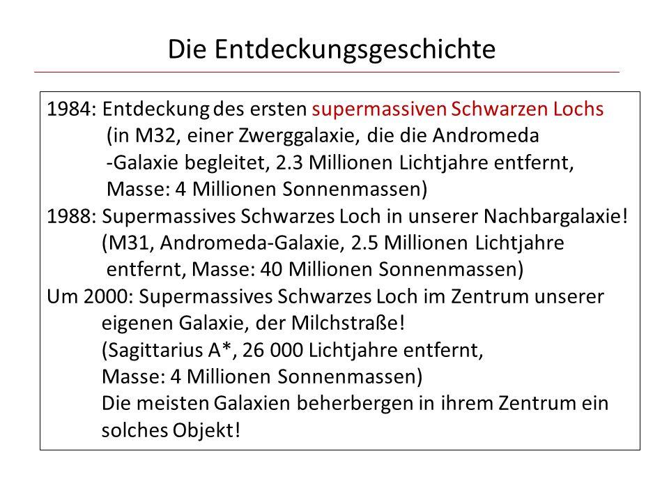 Die Entdeckungsgeschichte 1984: Entdeckung des ersten supermassiven Schwarzen Lochs (in M32, einer Zwerggalaxie, die die Andromeda -Galaxie begleitet,