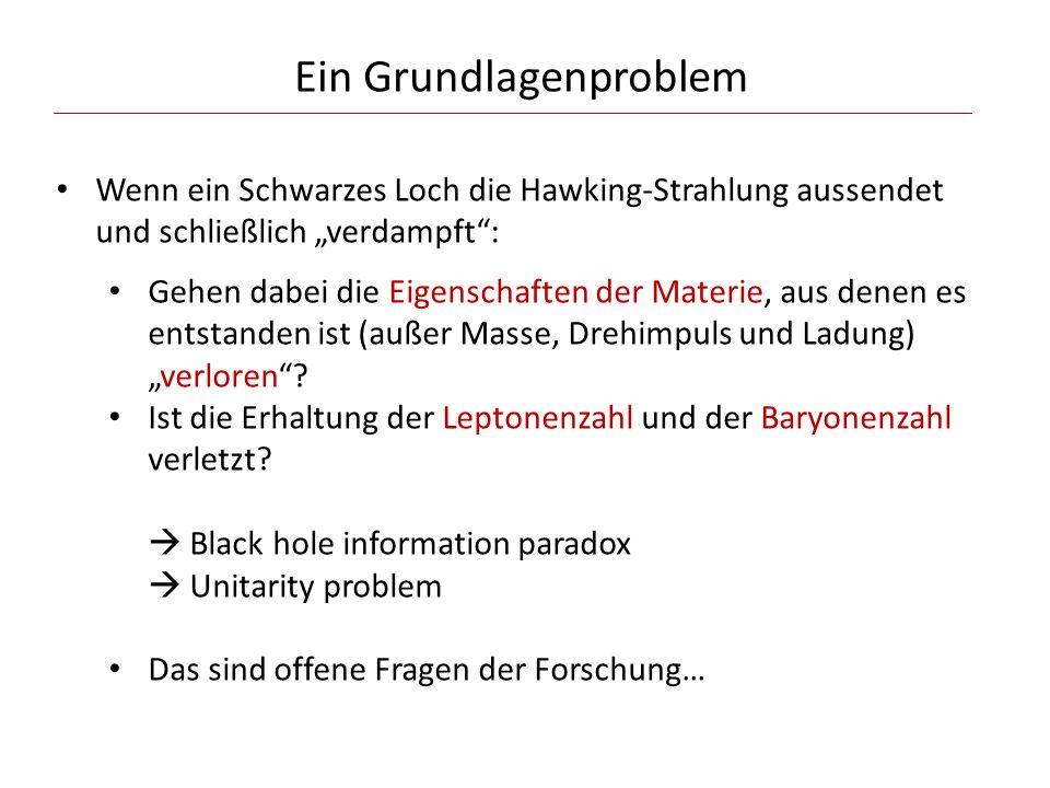 Ein Grundlagenproblem Wenn ein Schwarzes Loch die Hawking-Strahlung aussendet und schließlich verdampft: Gehen dabei die Eigenschaften der Materie, au