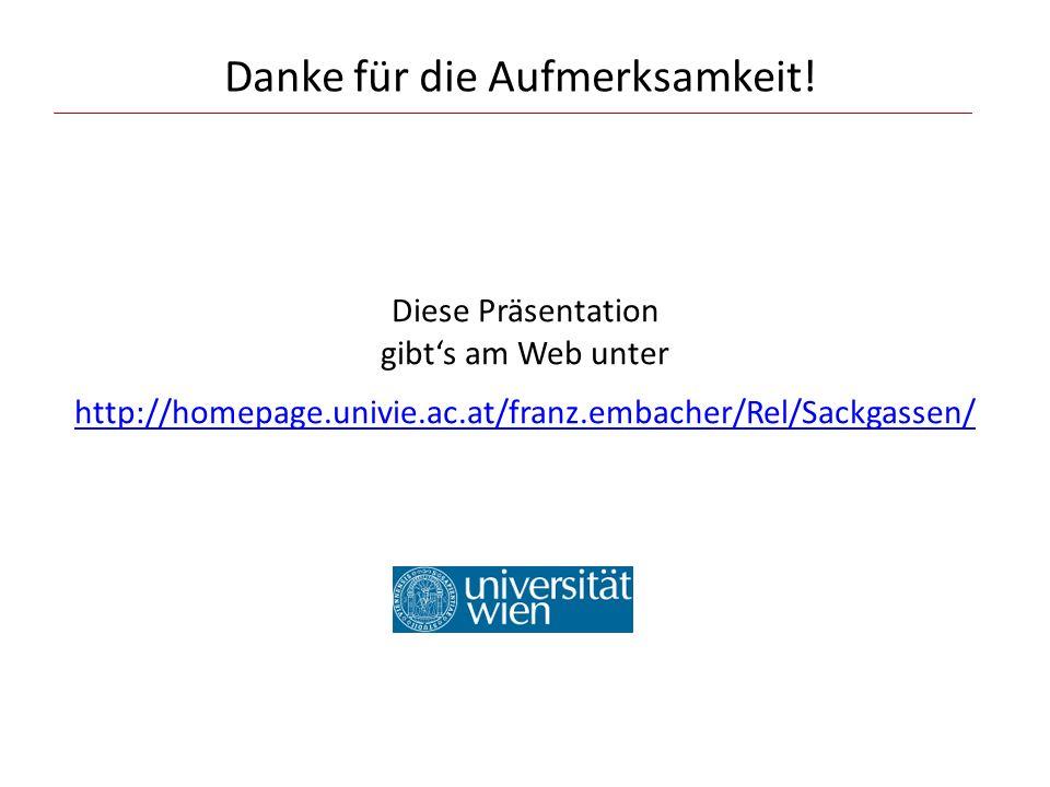 Danke für die Aufmerksamkeit! Diese Präsentation gibts am Web unter http://homepage.univie.ac.at/franz.embacher/Rel/Sackgassen/ http://homepage.univie
