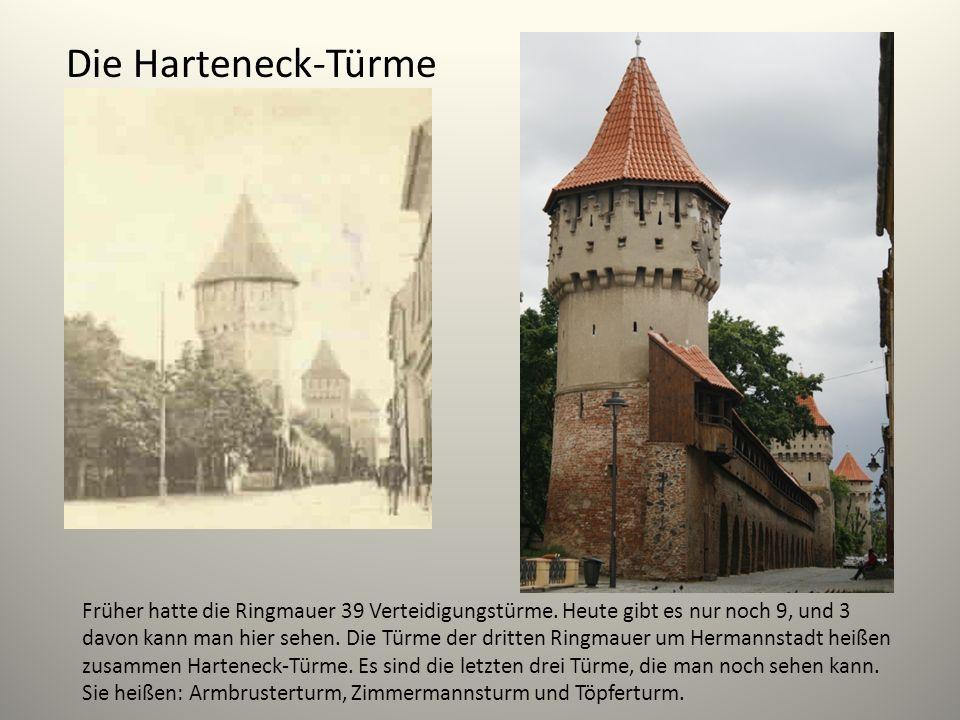 Die Harteneck-Türme Früher hatte die Ringmauer 39 Verteidigungstürme. Heute gibt es nur noch 9, und 3 davon kann man hier sehen. Die Türme der dritten