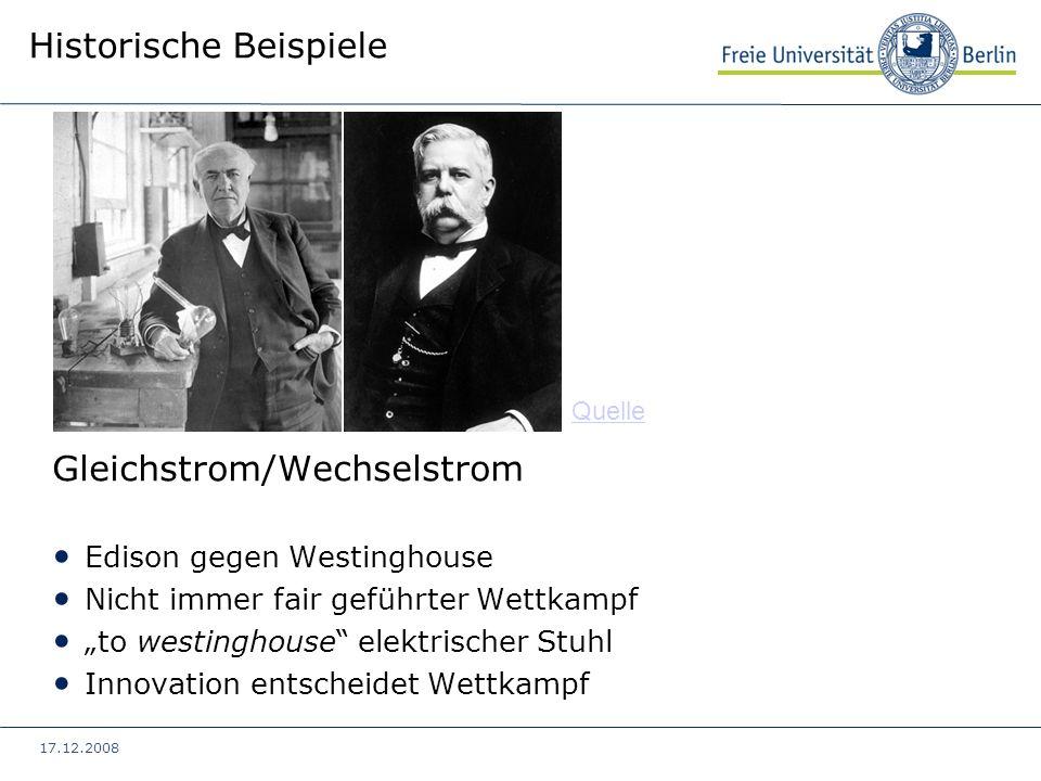 17.12.2008 Historische Beispiele Gleichstrom/Wechselstrom Edison gegen Westinghouse Nicht immer fair geführter Wettkampf to westinghouse elektrischer