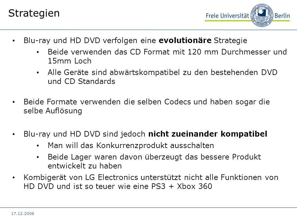 17.12.2008 Blu-ray und HD DVD verfolgen eine evolutionäre Strategie Beide verwenden das CD Format mit 120 mm Durchmesser und 15mm Loch Alle Geräte sin