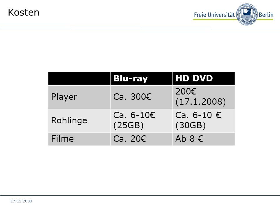 17.12.2008 Kosten Blu-rayHD DVD PlayerCa. 300 200 (17.1.2008) Rohlinge Ca. 6-10 (25GB) Ca. 6-10 (30GB) FilmeCa. 20Ab 8