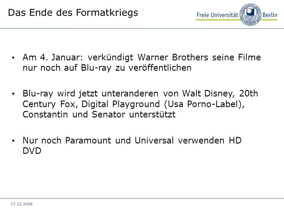 17.12.2008 Am 4. Januar: verkündigt Warner Brothers seine Filme nur noch auf Blu-ray zu veröffentlichen Blu-ray wird jetzt unteranderen von Walt Disne
