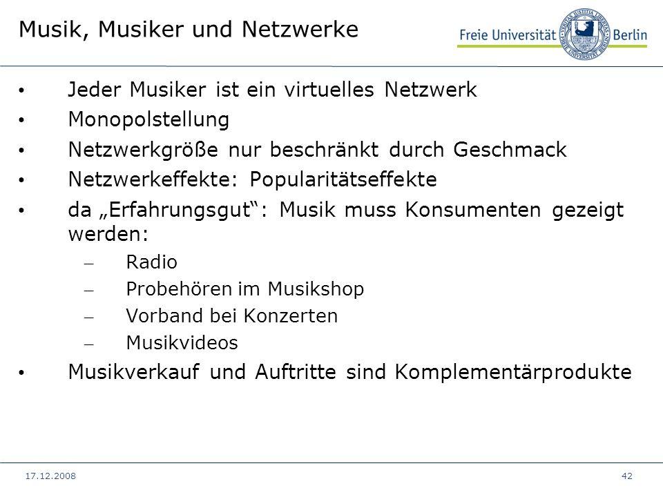 17.12.200842 Musik, Musiker und Netzwerke Jeder Musiker ist ein virtuelles Netzwerk Monopolstellung Netzwerkgröße nur beschränkt durch Geschmack Netzw