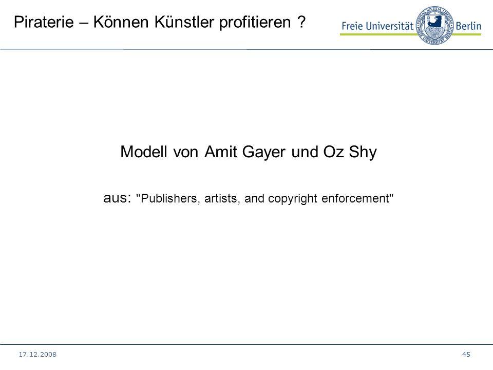 17.12.200845 Piraterie – Können Künstler profitieren ? Modell von Amit Gayer und Oz Shy aus: