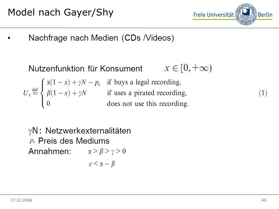 17.12.200846 Model nach Gayer/Shy Nachfrage nach Medien (CDs /Videos) Nutzenfunktion für KonsumentN: Netzwerkexternalitäten Preis des Mediums Annahmen