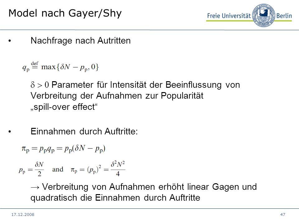 17.12.200847 Model nach Gayer/Shy Nachfrage nach Autritten Parameter für Intensität der Beeinflussung von Verbreitung der Aufnahmen zur Popularität sp