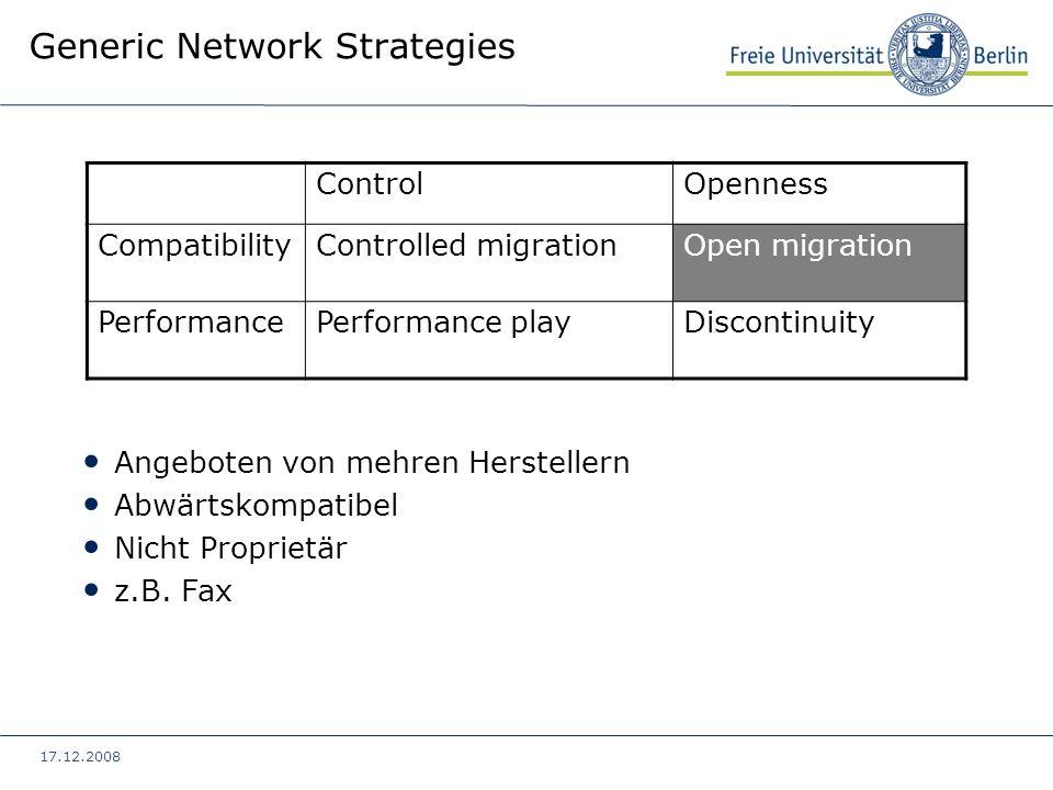 17.12.2008 Generic Network Strategies ControlOpenness CompatibilityControlled migrationOpen migration PerformancePerformance playDiscontinuity Startup Neu, inkompatibel und Proprietär z.B.